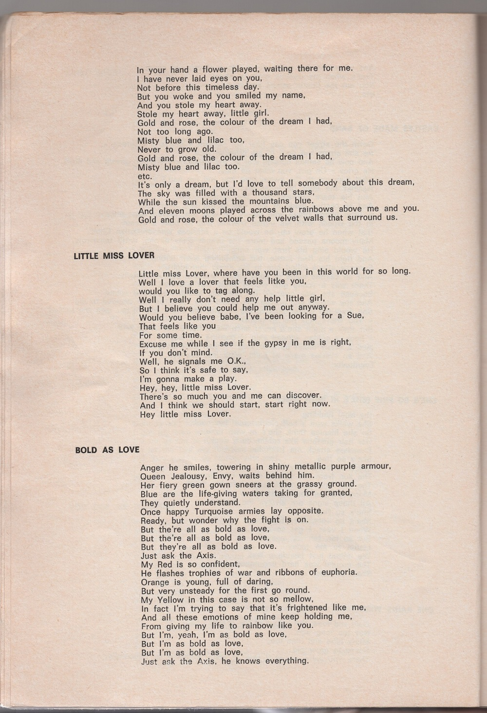 Curio Francais... Jimi Hendrix Songbook 2210