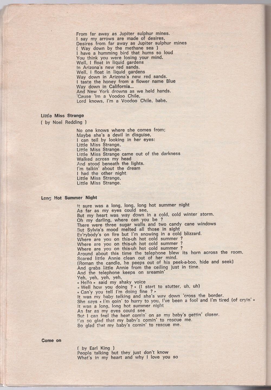 Curio Francais... Jimi Hendrix Songbook 2411
