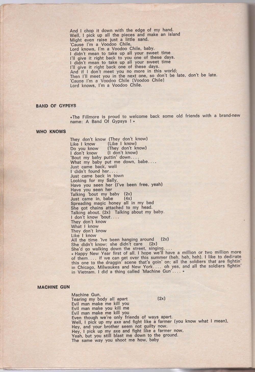 Curio Francais... Jimi Hendrix Songbook 2810