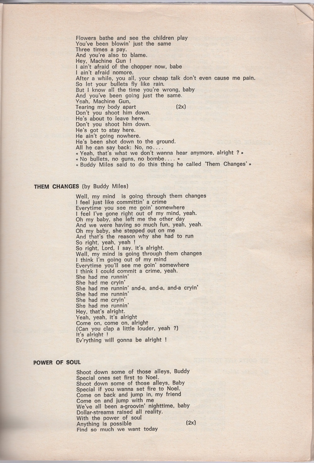 Curio Francais... Jimi Hendrix Songbook 2910