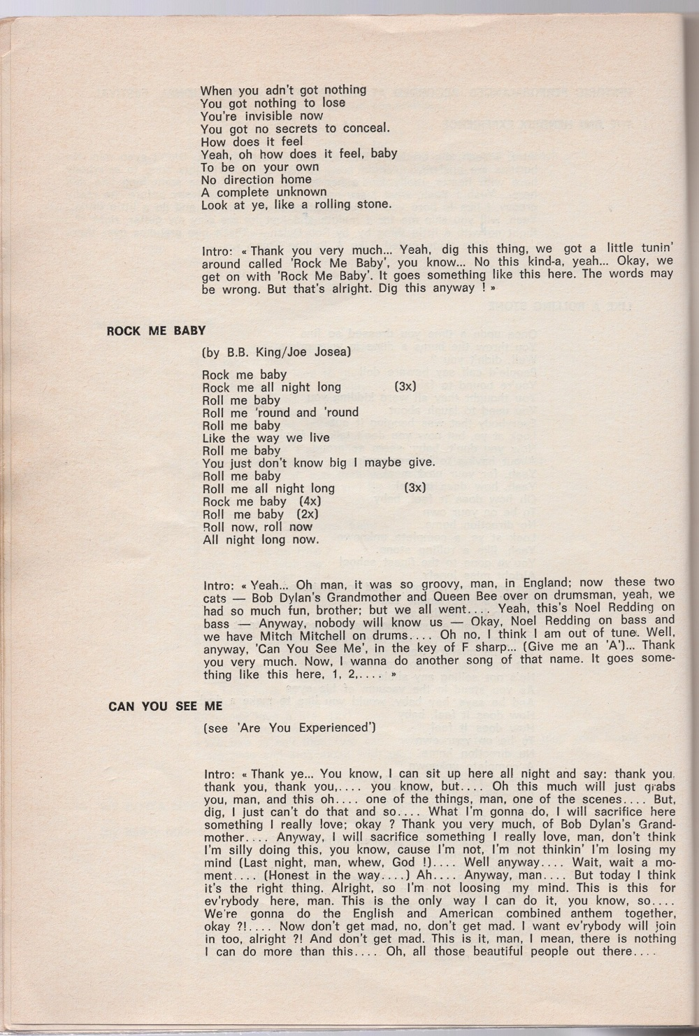Curio Francais... Jimi Hendrix Songbook 3210