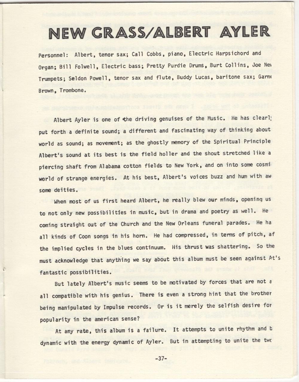 Albert Ayler : New Grass (1969) Critiq10