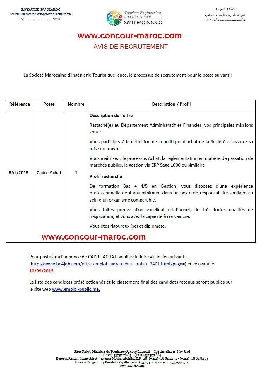 الشركة المغربية للهندسة السياحية : مباراة لتوظيف إطار المشتريات (1 منصب) آخر أجل لإيداع الترشيحات 10 شتنبر 2015 Conco149