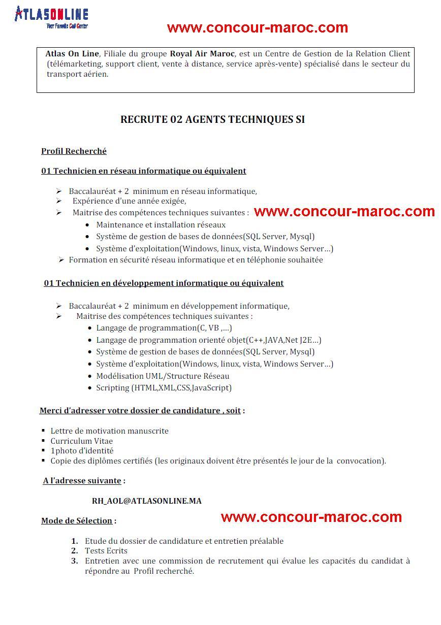 أطلس اون لاين - الخطوط الملكية المغربية : مباراة لتوظيف تقني معلوماتية (2 منصبان) آخر أجل لإيداع الترشيحات 8 شتنبر 2015 Conco157