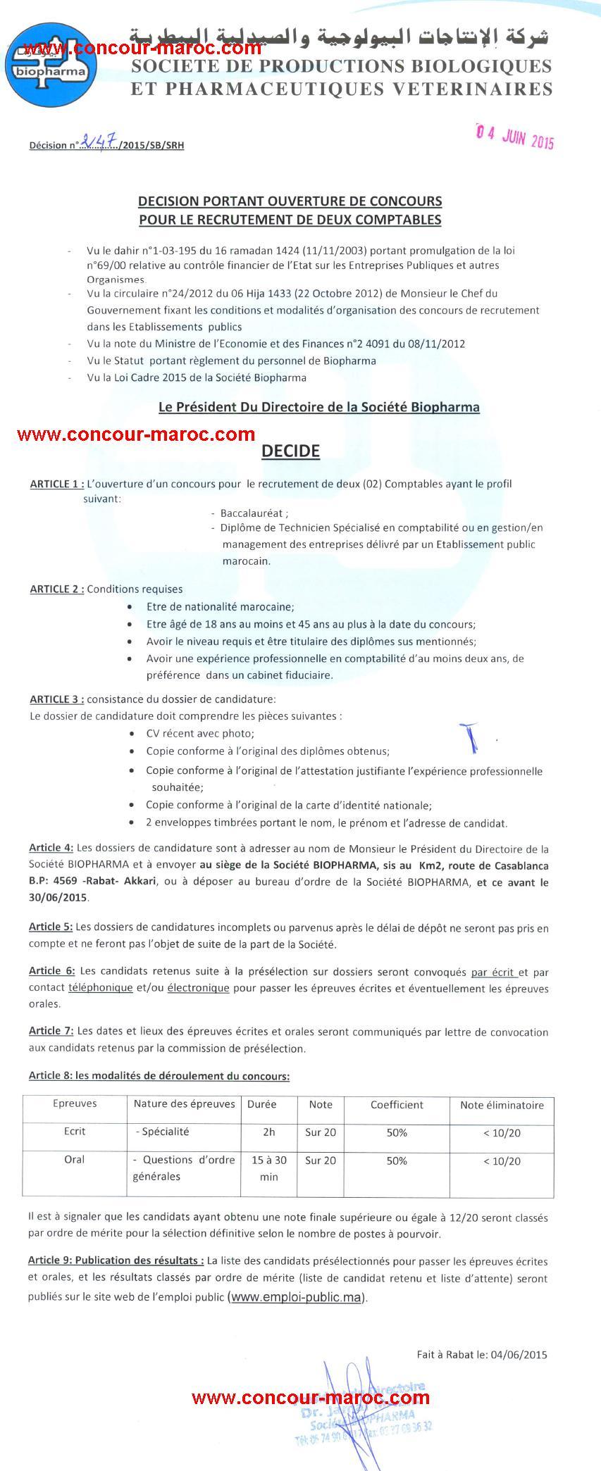شركة الإنتاجات البيولوجية والصيدلية البيطرية (بيوفارما) : مباراة لتوظيف محاسب (2 منصبان) آخر أجل لإيداع الترشيحات 30 يونيو 2015 Concou11