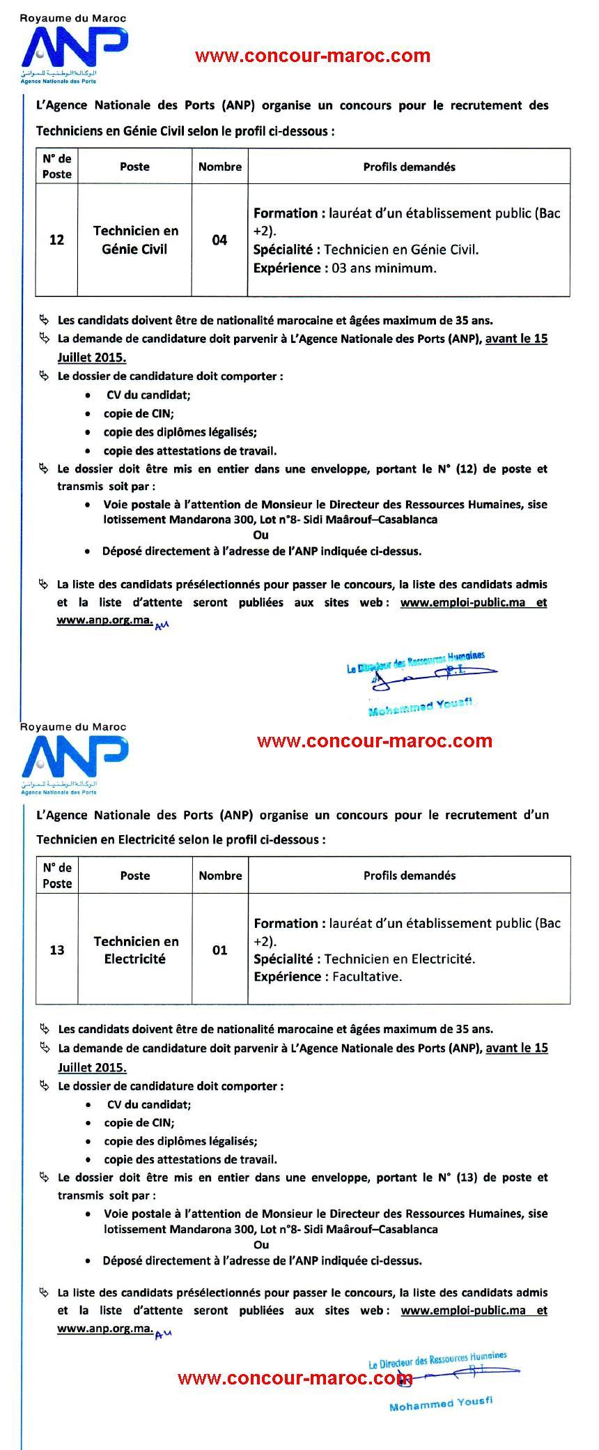 الوكالة الوطنية للموانئ : مباراة لتوظيف تقني تخصص هندسة مدنية (4 مناصب) و تقني تخصص كهرباء (1 منصب) آخر أجل لإيداع الترشيحات 15 يوليوز 2015 Concou31