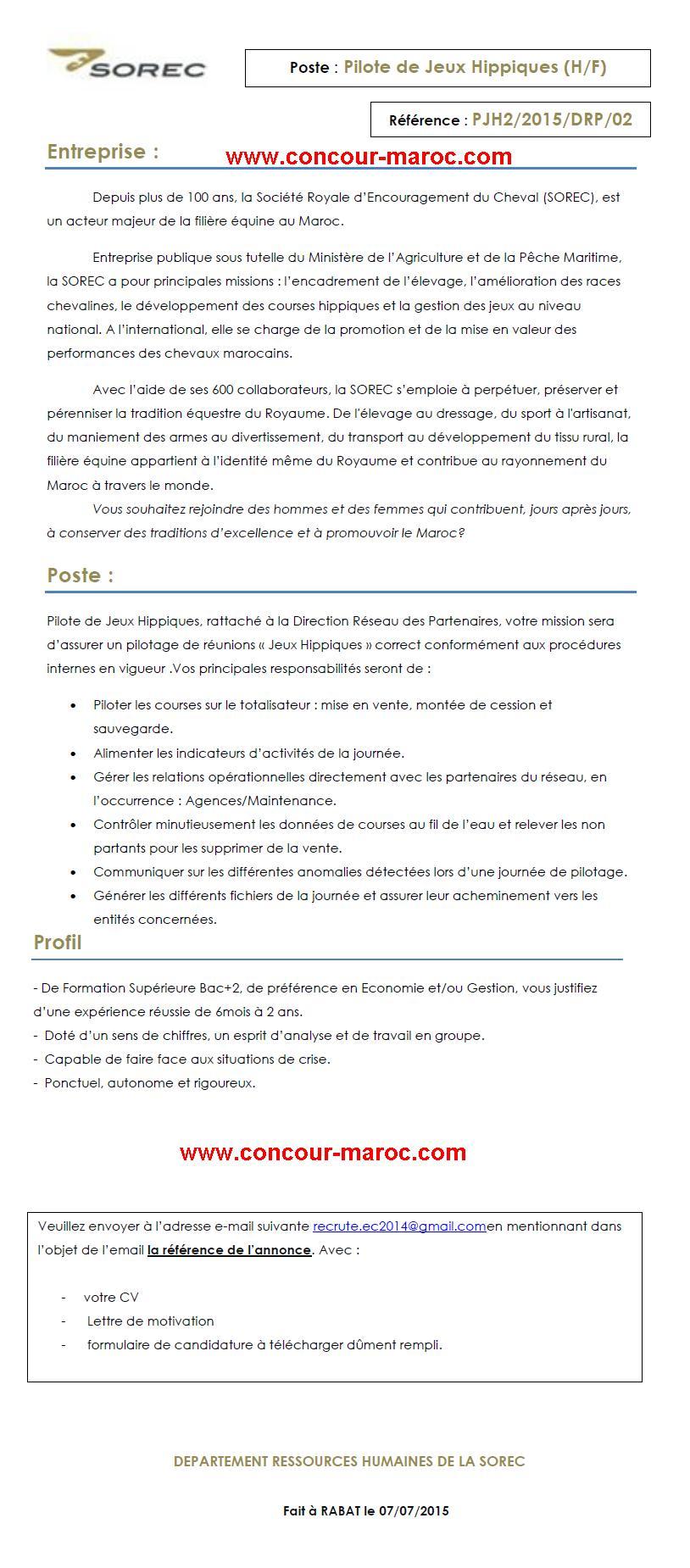 الشركة الملكية لتشجيع الفرس : مباراة لتوظيف تقني (1 منصب) آخر أجل لإيداع الترشيحات 30 يوليوز 2015 Concou69