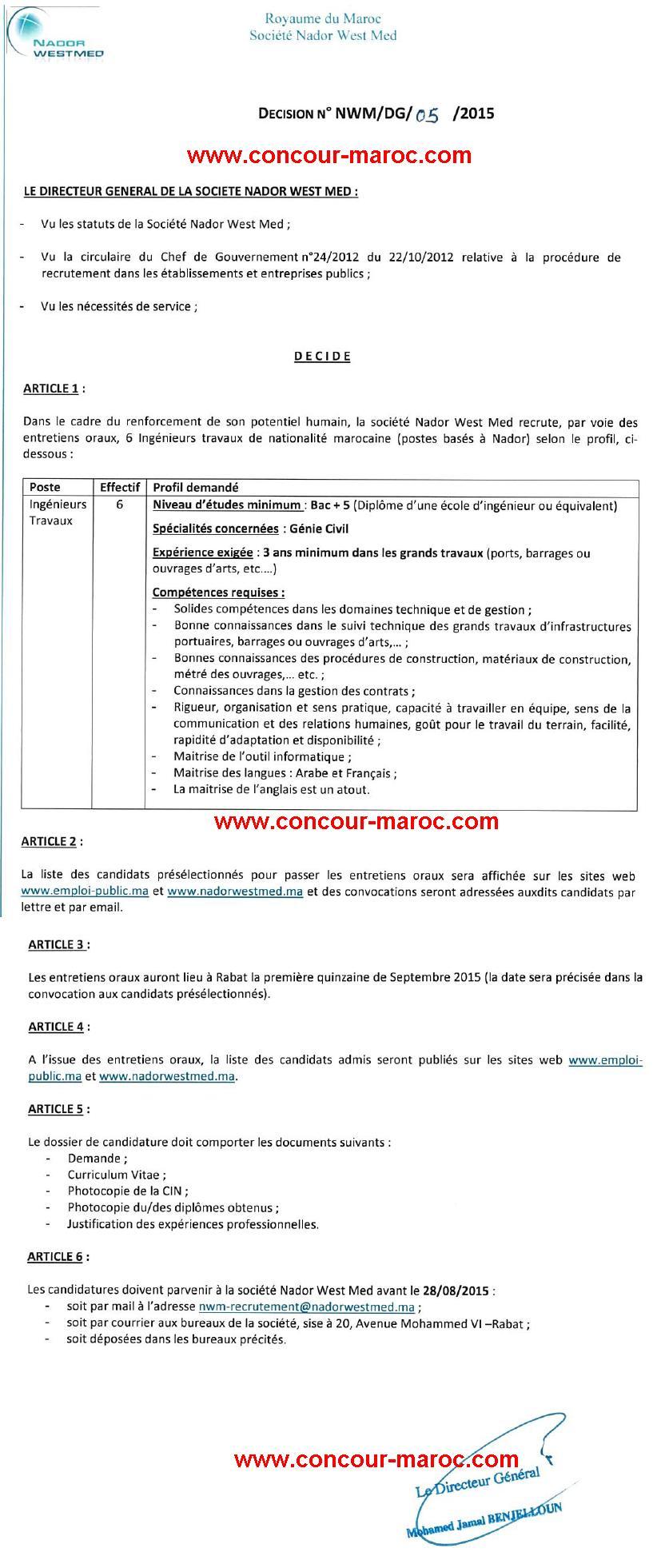 شركة الناظور غرب المتوسط : مباراة لتوظيف مهندس الاشغال (6 مناصب) آخر أجل لإيداع الترشيحات28 غشت 2015 Concou92
