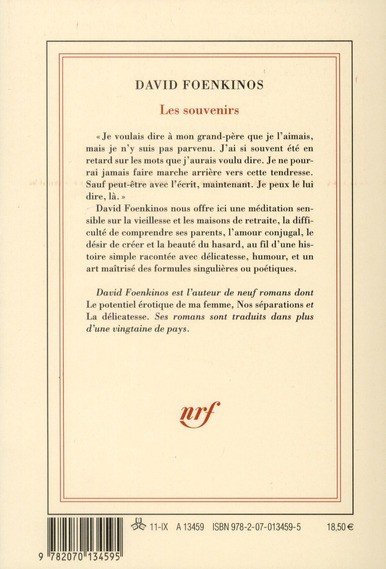 Les Souvenirs de David Foenkinos 97820710