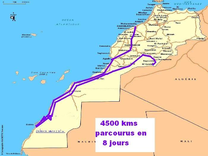 Itineraire decouverte Marrakech Dakhla Mhamide Elghizlane Carte_10