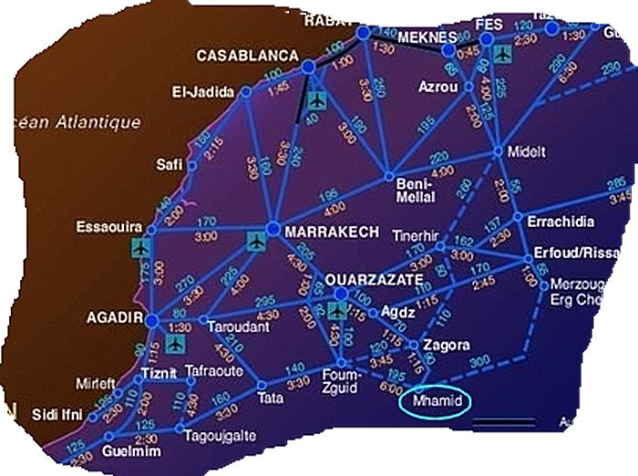 Itineraire decouverte Marrakech Dakhla Mhamide Elghizlane Carte_12
