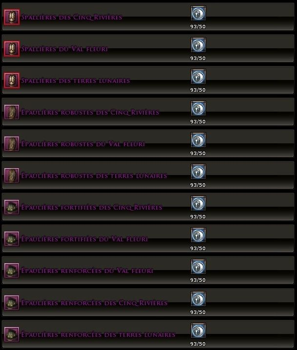 Les factions de réputation Armure10
