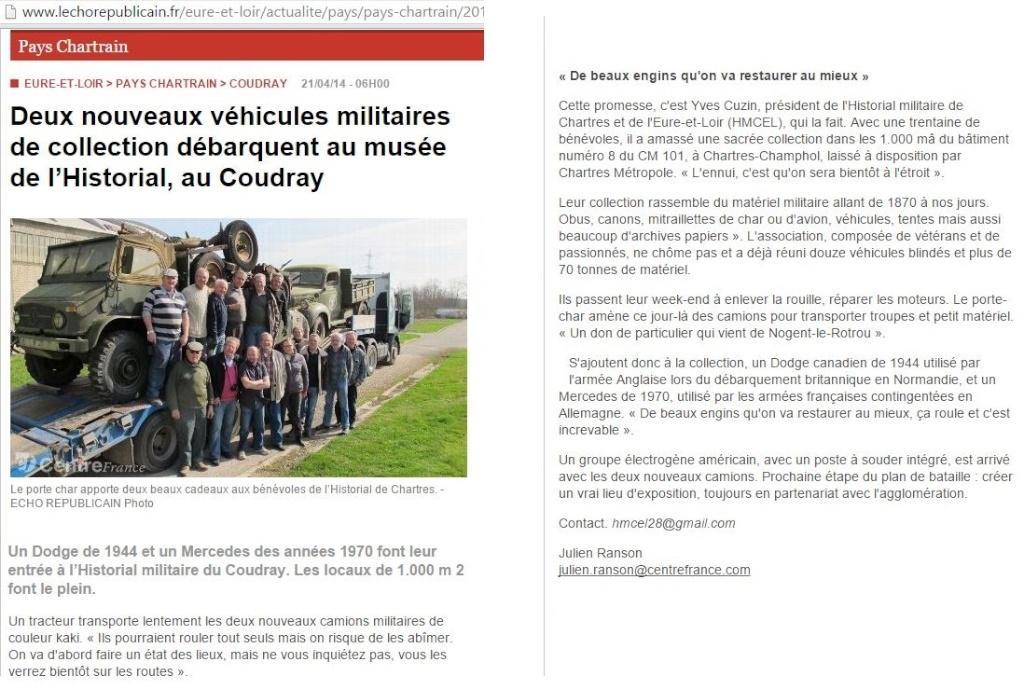 Deux nouveaux véhicules militaires de collection débarquent au musée de l'Historial, au Coudray Hmcel210