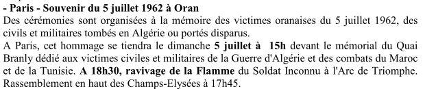 Cérémonie du 5 juillet 1962 à  Paris: massacre des populations européennes à Oran en Algérie devenue algérienne. 5_juil10