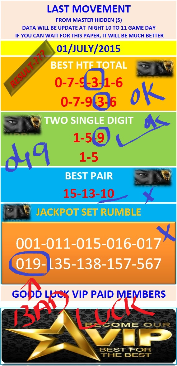 VIP DATA FOR ALL MEMBER BEFORE THE RESULT 01/JULY/2015 11:00 MORNING (FREE VIEW-UPDATE) Last-m16