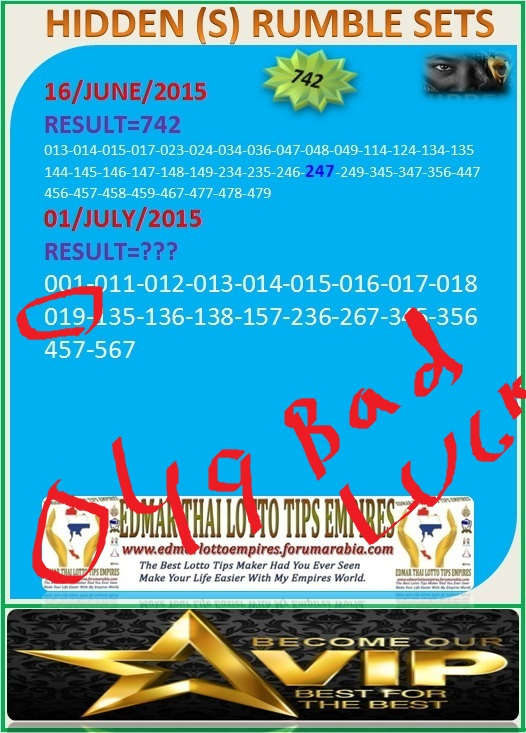 VIP DATA FOR ALL MEMBER BEFORE THE RESULT 01/JULY/2015 11:00 MORNING (FREE VIEW-UPDATE) Normal13