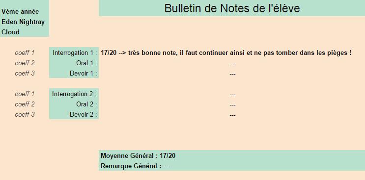 [Elèves] Bulletins de Notes Cloud10