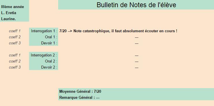 [Elèves] Bulletins de Notes Laurin10