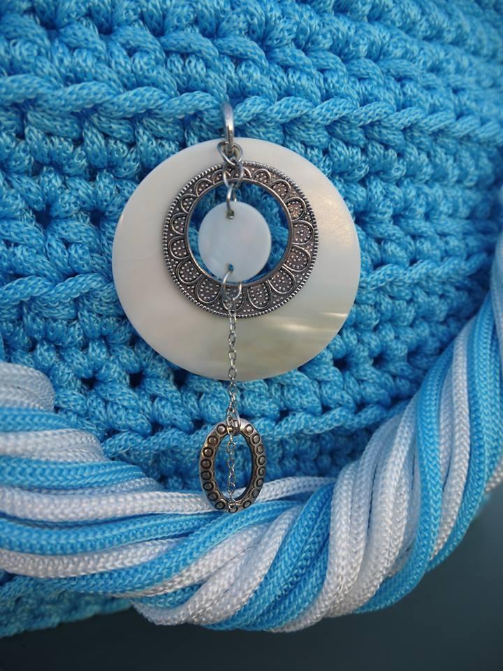 Cabas tressé en cordelette bleue azur VENDU 11249710