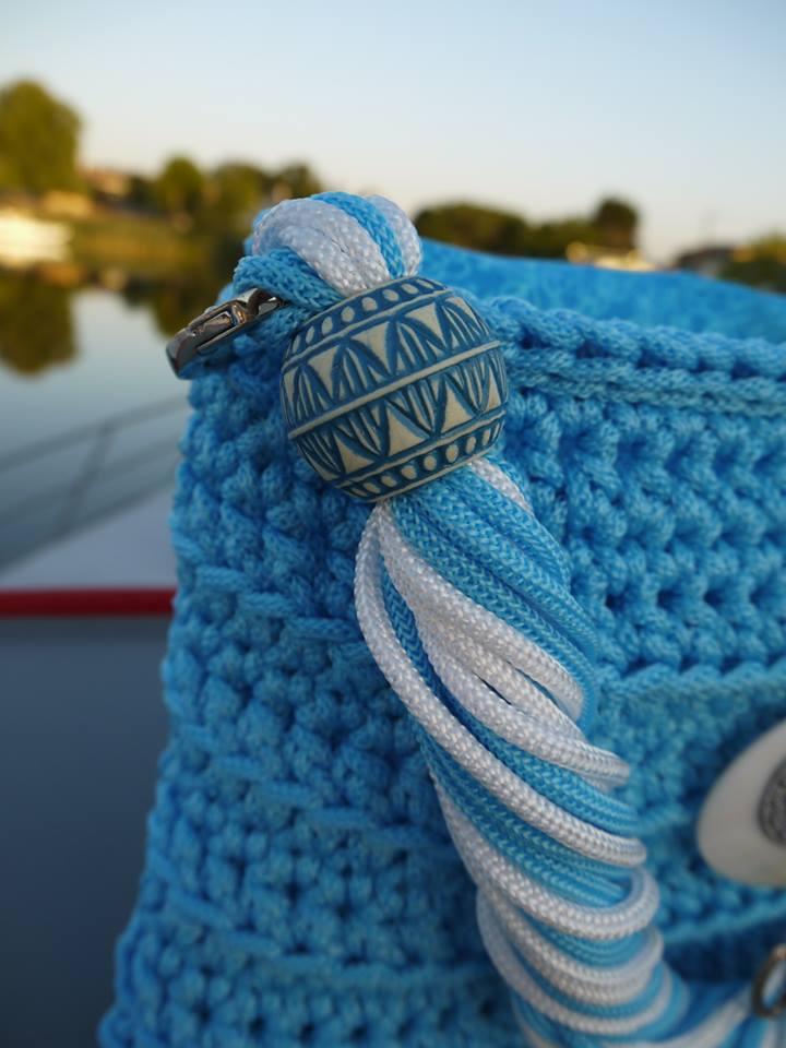 Cabas tressé en cordelette bleue azur VENDU 11701110