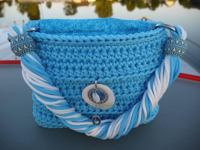 Cabas tressé en cordelette bleue azur VENDU 11703110