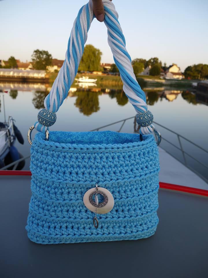 Cabas tressé en cordelette bleue azur VENDU 16109510