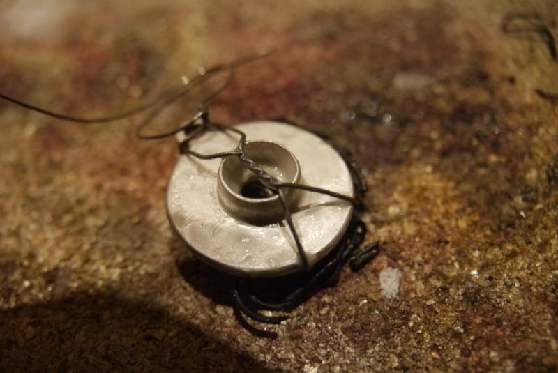 Pendentif améthyste cabochon et demi-sphères d'argent P1180610