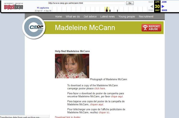 """Claim by 'Stevo' - """"CEOP show Maddie is missing on 30th April 2007"""" Ceopma10"""
