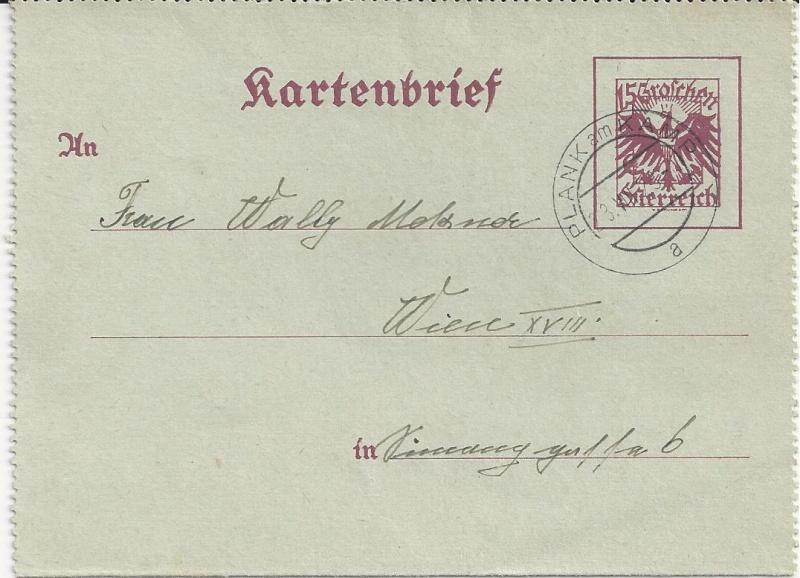 Bedarfspost Ganzsachen Österreich 1925-1938 Bild23