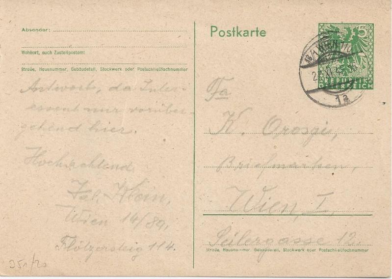Bedarfspost Ganzsachen Österreich 1945-1947 Bild73