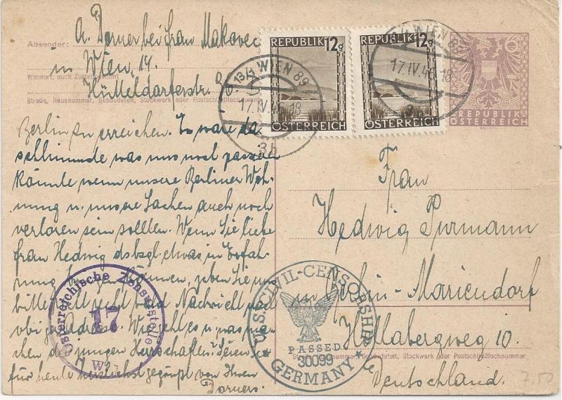 Bedarfspost Ganzsachen Österreich 1945-1947 Bild_443