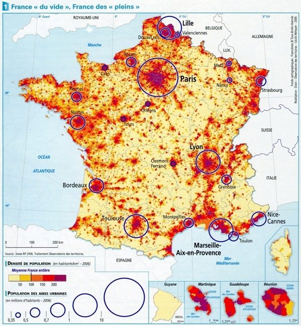 Carte de densité de population en France Densit10