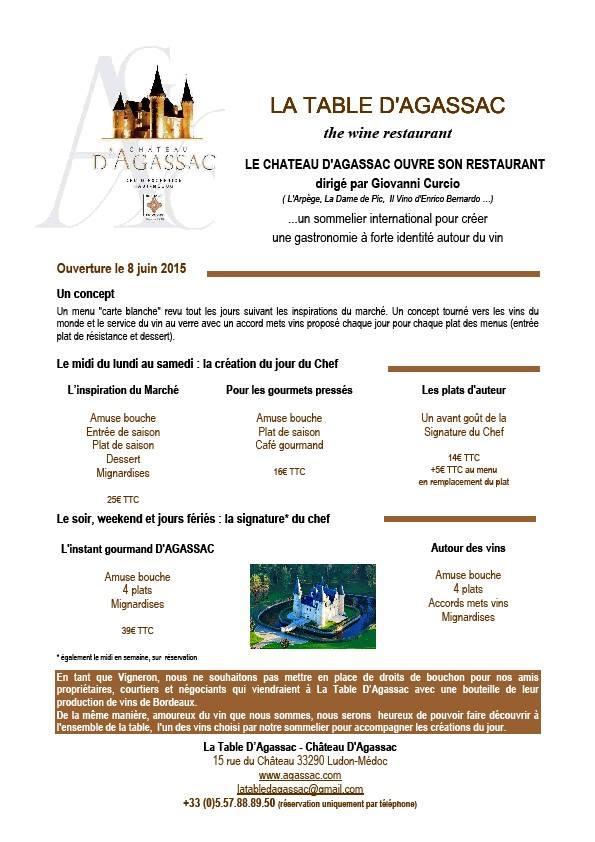 Le Château D'Agassac ouvre son restaurant à Ludon Médoc 11329810