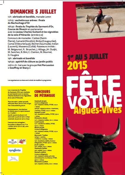 PROGRAMME COMPLET FETE VOTIVE AIGUES-VIVES 2015 1er au 5 JUILLET 2015 Aigues11