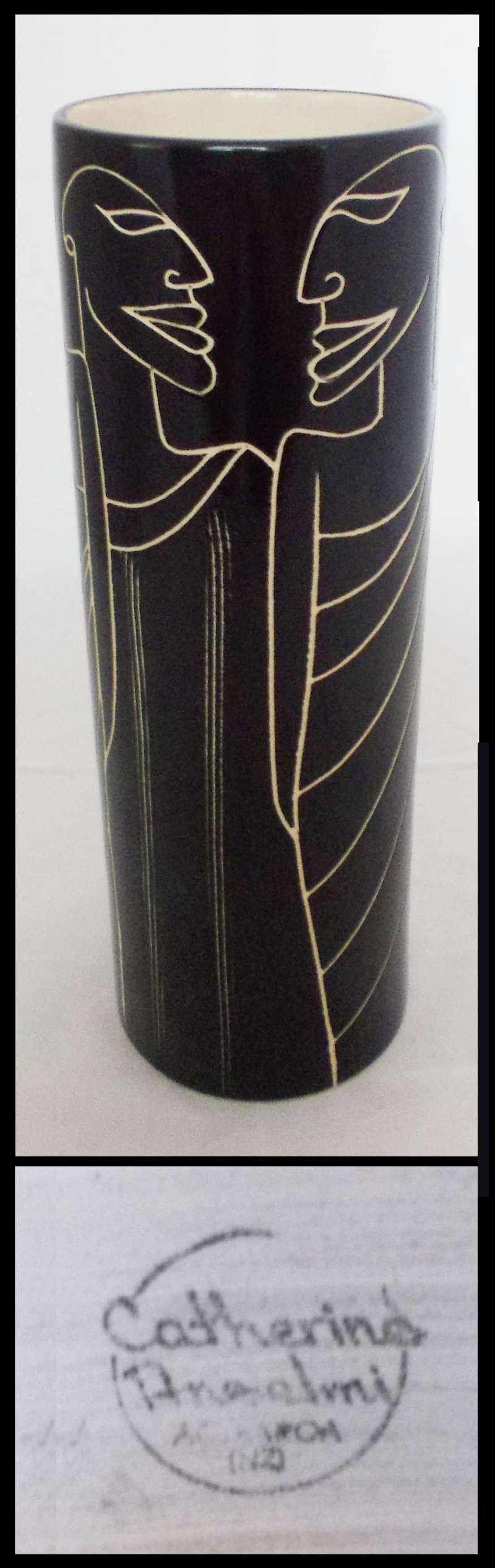 Catherine Anselmi black incised tall vase for gallery Dscn7014
