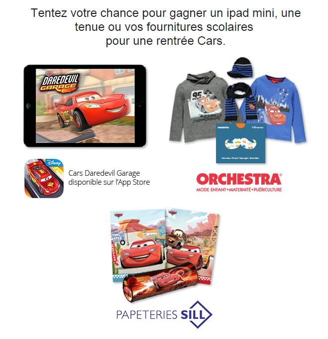 20.08 Tas Orchestra 10 cartes cadeaux de 40 euros , 1 Ipad mini , 10 cahiers 20 trousses Cars DLP:4/09 Jeu102
