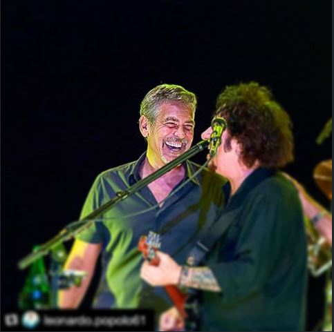 George Clooney at the Toto World Tour concert in Milan 03. July 2015 Bbb10