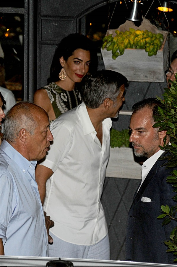George Clooney and wife Amal take family out to dinner 14 july Cc410