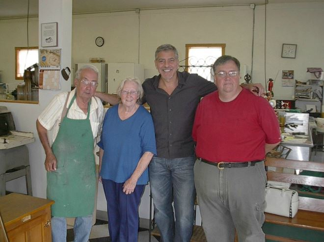 George Clooney and Amal visit the Maysville bakery in Kentucky 04. June 2015 Pp211