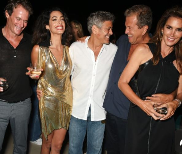 George & Amal Clooney, the Gerbers at the Ibiza launch of their Casamigos tequila August 23, 2015 Yy410