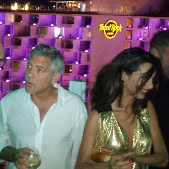 George & Amal Clooney, the Gerbers at the Ibiza launch of their Casamigos tequila August 23, 2015 Yy9910