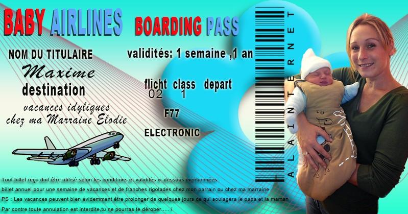 etiquette avion parrain marraine  Billet10