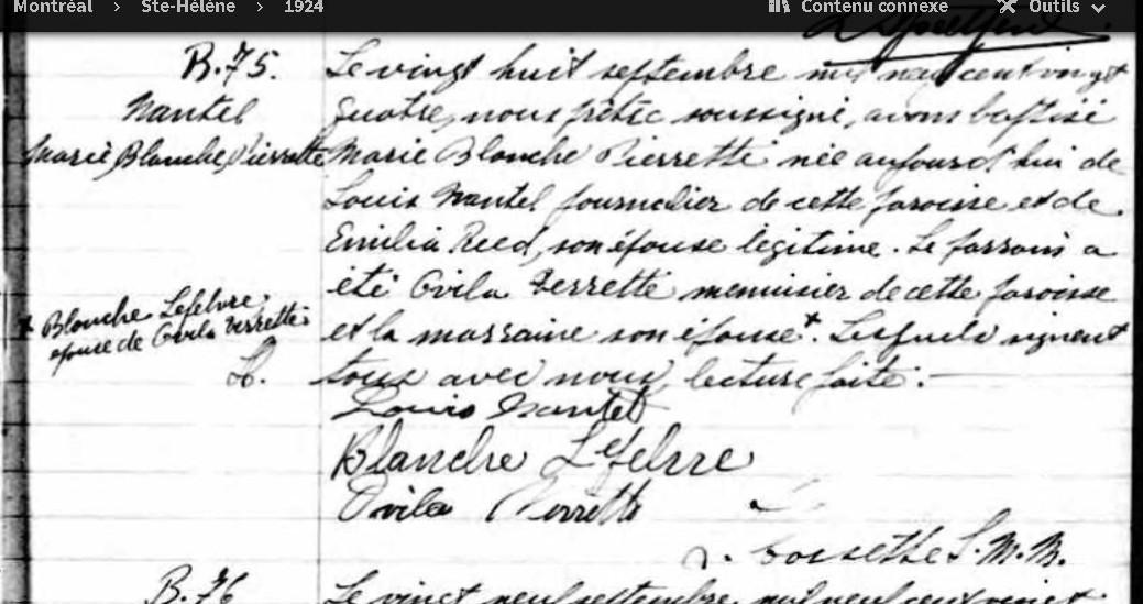 Mariage de Louis Nantel et Sophronie Lacaille Blanch10
