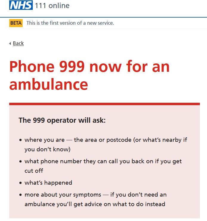 NHS 111 Online Nhs11110