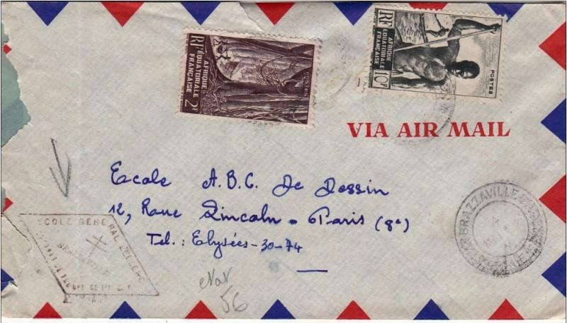 Cachet école général  LECLERC à Brazzaville 1955 Brazza11
