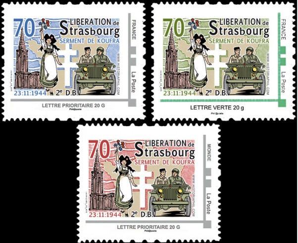 Strasbourg 1969 ,1974,1984,1987,1997,2014,médaille,vignettes Strasb16