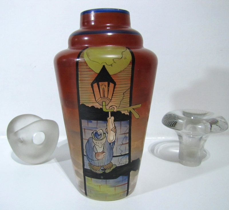 Unusual 1920s enamel decorated vase.. Maybe American ? 20s_gl10