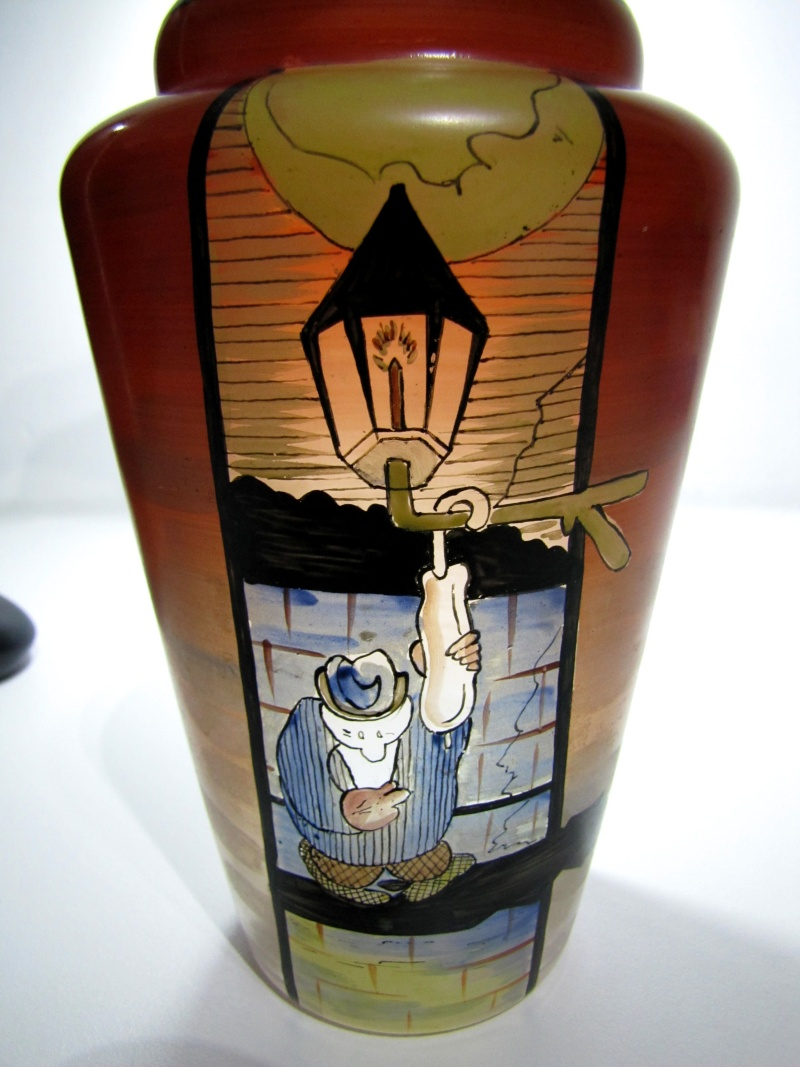 Unusual 1920s enamel decorated vase.. Maybe American ? 20s_gl11