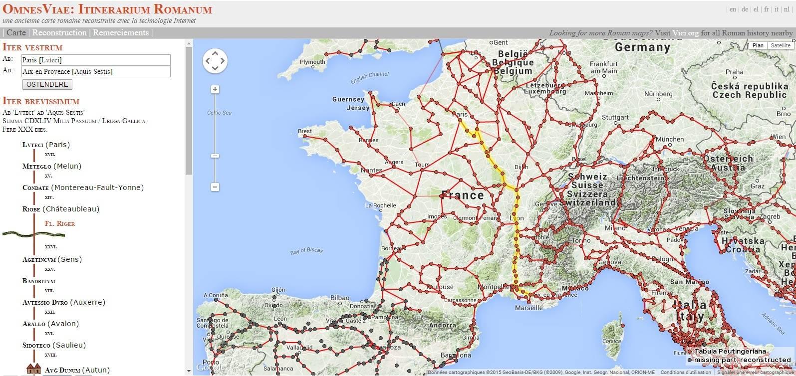 Google itinéraire par les ......voies romaines:OmnesViae: Itinerarium Romanum Iti_ro10