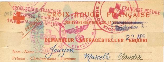 Message  Formule  « CROIX-ROUGE  FRANÇAISE »  avec mention imprimée «Taxe Perçue»  pour un ouvrier français en Allemagne Ccf03011